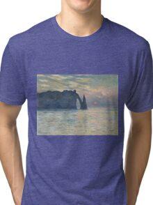 Claude Monet - The Cliff, Étretat,  Sunset  Impressionism Tri-blend T-Shirt