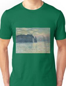 Claude Monet - The Cliff, Étretat,  Sunset  Impressionism Unisex T-Shirt