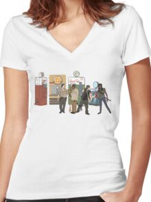 The Walkind Nazi Zombie Slayers 2.0 Women's Fitted V-Neck T-Shirt