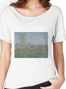 Claude Monet - Spring in Vethuil (1880)  Impressionism Women's Relaxed Fit T-Shirt