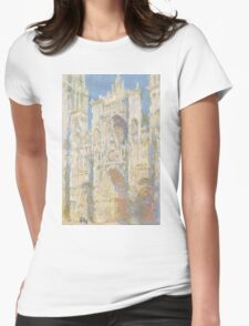 Claude Monet - Rouen Cathedral.  West Facade.  Sunlight  , Impressionism Womens Fitted T-Shirt
