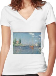 Claude Monet - Red Boats. Argenteuil  Women's Fitted V-Neck T-Shirt