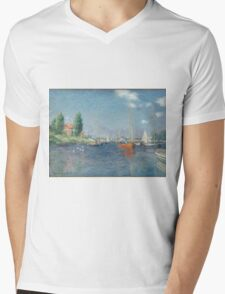 Claude Monet - Red Boats. Argenteuil  Mens V-Neck T-Shirt