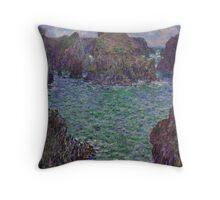 Claude Monet - Port-Goulphar Belle , Impressionism Throw Pillow