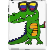 Funny Cool Alligator with Mobile Phone and Sunglasses iPad Case/Skin