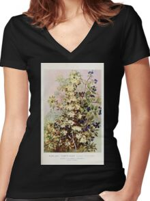 Southern wild flowers and trees together with shrubs vines Alice Lounsberry 1901 074 Pomette Bleue Women's Fitted V-Neck T-Shirt