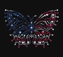 American Patriotic Dots Butterfly Flag  One Piece - Short Sleeve