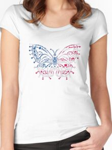 American Patriotic Dots Butterfly Flag  Women's Fitted Scoop T-Shirt