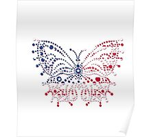 American Patriotic Dots Butterfly Flag  Poster