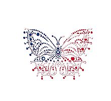 American Patriotic Dots Butterfly Flag  Photographic Print