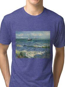 Vincent Van Gogh - Post- Impressionism Oil Painting , Seascape near Les Saintes-Maries-de-la-Mer, June 1888 - 1888 Tri-blend T-Shirt