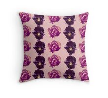 Purple and yellow pansies and roses pink background Throw Pillow