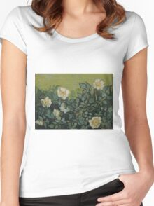 Vincent Van Gogh - Wild roses, Famous Painting. Impressionism. Van Gogh Women's Fitted Scoop T-Shirt