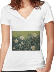 Vincent Van Gogh - Wild roses, Famous Painting. Impressionism. Van Gogh Women's Fitted V-Neck T-Shirt