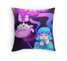 Rose and Orchid, Pink and Blue Throw Pillow