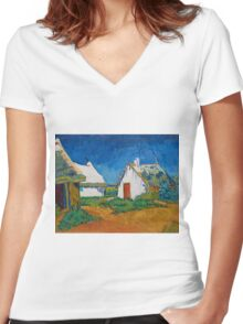 Vincent Van Gogh - White cottages at Saintes-Maries, 1888 Women's Fitted V-Neck T-Shirt
