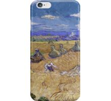 Vincent Van Gogh - Wheat Fields with Reaper, Auvers, Impressionism. - Wheat Fields with Reaper, Auvers, 1890. Famous Paintings. Impressionism. iPhone Case/Skin
