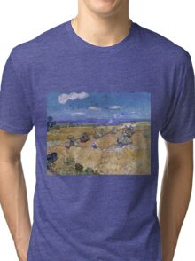 Vincent Van Gogh - Wheat Fields with Reaper, Auvers, Impressionism. - Wheat Fields with Reaper, Auvers, 1890. Famous Paintings. Impressionism. Tri-blend T-Shirt