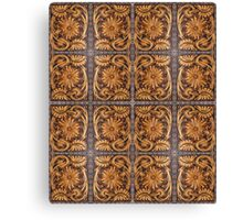 Tooled Leather Look, Brown Floral Design Canvas Print