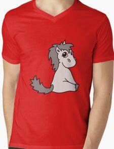 foal sweet cute sitting comic cartoon pony horse pferdchen kawaii child girl baby Mens V-Neck T-Shirt