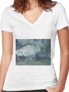 Claude Monet - Arrival of the Normandy Train  Gare Saint-Lazare  Women's Fitted V-Neck T-Shirt