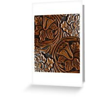 Tooled Leather Look, Dark Brown Floral Design Greeting Card