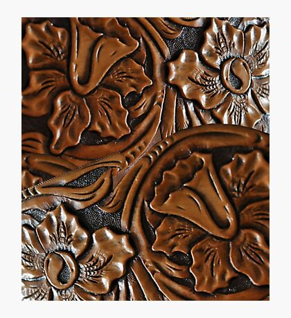 Tooled Leather Look, Dark Brown Floral Design Photographic Print
