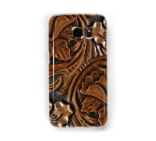 Tooled Leather Look, Dark Brown Floral Design Samsung Galaxy Case/Skin