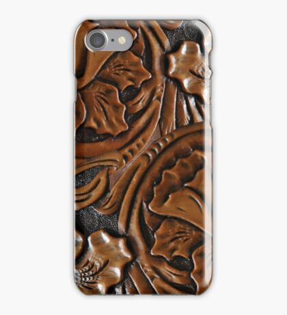 Tooled Leather Look, Dark Brown Floral Design iPhone Case/Skin