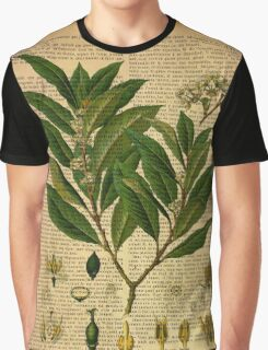 Botanical print, on old book page Graphic T-Shirt