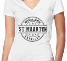 St. Maarten, The Netherlands Antilles Women's Fitted V-Neck T-Shirt