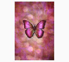Pink butterfly on iridescent bckground Unisex T-Shirt