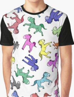 Colourful Cartoon Horse's Graphic T-Shirt