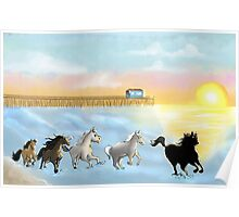 Horses on the beach Poster