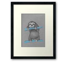 Cute adorable sloth illustration oil pastel Framed Print