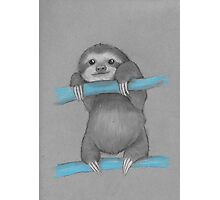 Cute adorable sloth illustration oil pastel Photographic Print