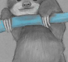 Cute adorable sloth illustration oil pastel Sticker