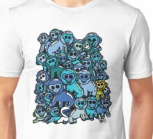 The Shiny Blue Monkey Pile Accepts the Odd Monkey Out Unisex T-Shirt