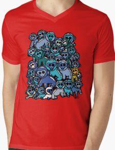 The Shiny Blue Monkey Pile Accepts the Odd Monkey Out Mens V-Neck T-Shirt