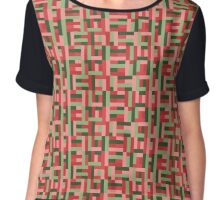 Line Block Pattern Chiffon Top