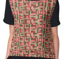 Line Block Pattern Chiffon Top