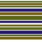 Simple Olive Green and Blue Striped Pattern by donnagrayson