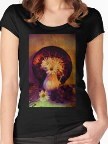 Still Life with Daisy flowers and grapes Women's Fitted Scoop T-Shirt