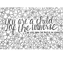 Child of the Universe - Black and White Photographic Print