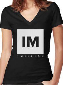 1 MILLION Dance Studio Logo (White Version) Women's Fitted V-Neck T-Shirt