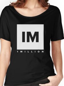 1 MILLION Dance Studio Logo (White Version) Women's Relaxed Fit T-Shirt