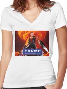 Duke Nukem Trump Women's Fitted V-Neck T-Shirt