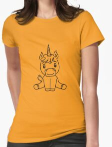 unicorn foal unicorn sweet cute sitting comic cartoon pony horse pferdchen kawaii child girl baby Womens Fitted T-Shirt