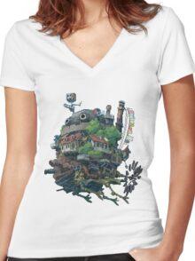 8bit Howl's Moving Castle Women's Fitted V-Neck T-Shirt