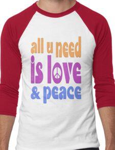 all u need is love & peace - love, peace, rescue, animal rights, vegan Men's Baseball ¾ T-Shirt